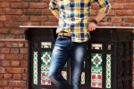Yellow Casual With Blue Checks On Monkey Wash Jeans